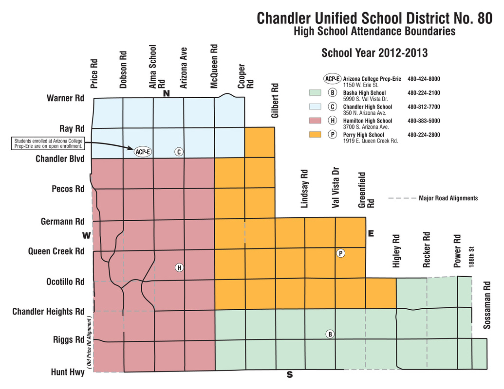Chandler Arizona School District Chandler Schools Boundary Maps